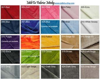 Minky fabric, ultra soft cuddly velboa microfiber smooth fabric, 25 colors to your choice.