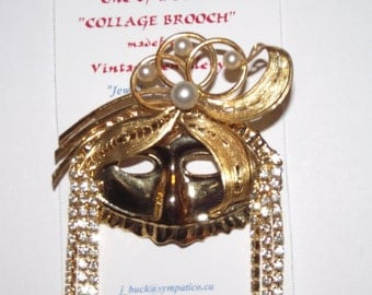 Fashion MaskThemed Brooch and/or Pendant.  1-of-a-kind Collage Brooch. Masquerade, Mardi Gras, Drama. #76