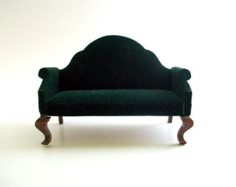 Miniature Couch. Dollhouse Couch, Miniature Sofa, Dollhouse Sofa, Velvet Couch, Velvet Sofa, Green Velvet Couch, Green Velvet Sofa, Vintage