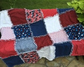 4th of July rag quilt, patriotic rag quilt,  QOV, quilt of valor, 4th of July decor