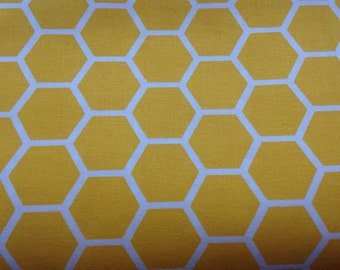 Yellow fabric by the yard - yellow honeycomb fabric - yellow and white fabric by the yard - #15334