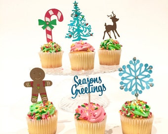 Christmas Cupcake Toppers-Holiday cake decoration,Assorted set of 12 cupcake toppers
