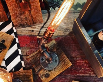 Reclaimed barn wood black iron Edison light