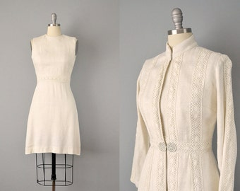 60s Dress // 1960's Linen and Cotton Lace Dress w/ Matching Jacket // Small