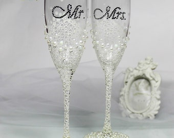 Glasses Ivory Wedding champagne glasses Set Hand painted