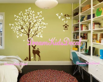 Tree Wall Decal with Deer, Wall Decal, Nursery Wall Decals, Baby Kids Nursery Wall Stickers Wall Art-Tree with bird birdcage-DK201