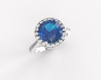 Blue Engagement Ring, Round Halo Engagement Ring, Gemstone and Diamond Ring, Blue Topaz Engagement Ring, Blue Topaz and Diamond Ring