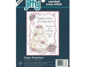 "Happy Beginnings Wedding Theme Cross Stitch Kit - Jiffy Counted Cross Stitch Wedding Cake, Ribbon Banner and Event Personalization - 5"" x 7"""