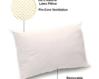 All natural Latex Pillow with Zippered Organic Cotton Covering plus FREE Organic Cotton Pillow Case - color: Ivory