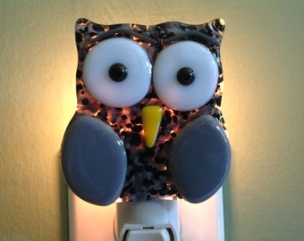 Fused Glass, Black and Gray, Owl, Night Light