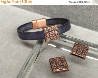 On Sale NOW 25%OFF Square Floral Carved Sliders For 5-12mm Flat Leather Cord Antique Copper Z1972 Qty 2
