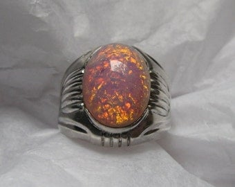 Vintage UNCAS Sterling Ring, Glass Fire Opal; The Best Kind of Harlequin Romance!