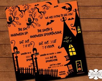 halloween invitation, halloween digital invite, haunted house party invitation, halloween party invite - Digital File - DIY PRINTABLE