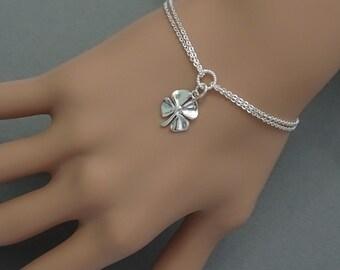 Four Leaf Clover Bracelet, Sterling Silver Four Leaf Clover Charm Bracelet