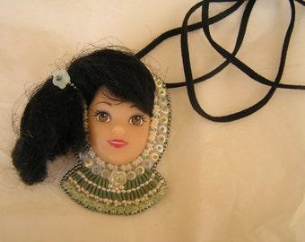 Bead embroidery pendant: barbie girl