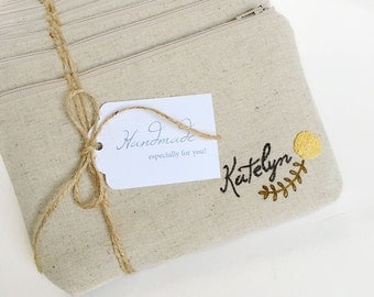 Personalized Bridesmaids Gifts, Personalized Floral Wedding Bag, Bridesmaid Gift Idea, Choose Quantity and Flower Color