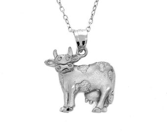 "Sterling Silver Cow pendant with 18"" chain. farm jewelry, animal jewelry"