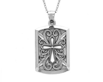 """sterling silver cross dog tag pendant on an 18"""" silver cable chain. religious jewelry."""