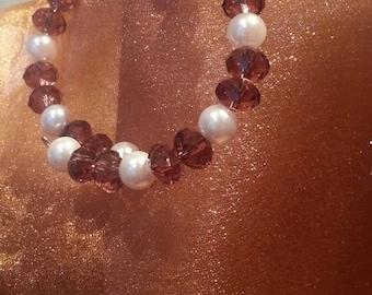 Purple and Pearls Beaded Bracelet