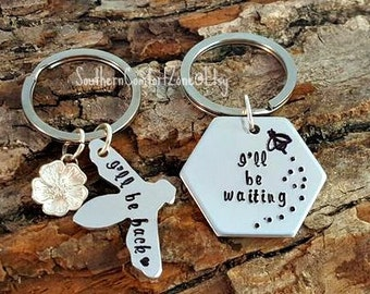 Long Distance Relationship Key Chains - Couple - His and Hers - Military - Honey Bee - I'll be back - I'll be waiting -Moving Gift - Love