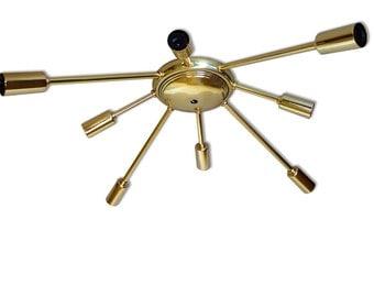 Atomic Wide 8 Arm Flush-Mount Sputnik Ceiling Light Starburst Mid Century