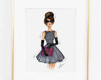 Fashion Illustration Print, Modern Holly, 8x10""