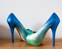 Custom Blue Ombre Glitter Wedges or Heels