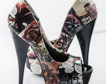 Marvel Zombies Comic Book Heels | Wolverine Iron Man Hulk Spider-Man | Custom Made to Order One of a Kind Shoes