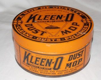 Vintage 1922 Kleen-o Dust Mop Advertising Tin