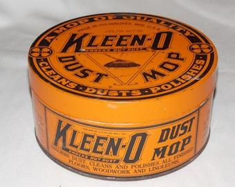 Vintage 1922 Kleen-o Dust Mop Advertising Tin