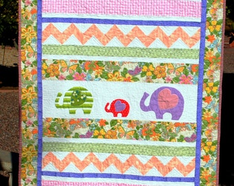 Elephant Family Crib Size Baby Quilt