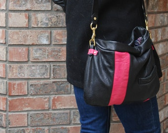 Edgy but Soft Black and Pink Leather Shoulder Bag, OOAK, Upcycled