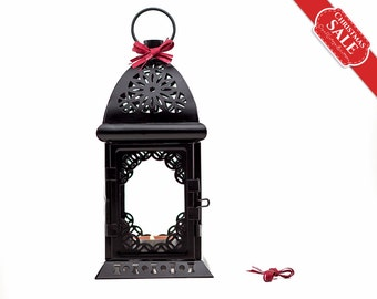 Black and White Wedding Candle Lantern Centerpiece/ Morrocan Decor/ Exotic Metal Candle Holder/ Wedding Arabic Decor