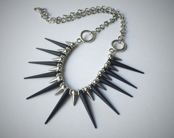 Chunky Black And Silver Spike Chain Necklace Statement Necklace