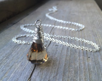 Silver Wire Wrapped Smoky Swarovski Crystal Raindrop Chain Necklace - Choose your chain length