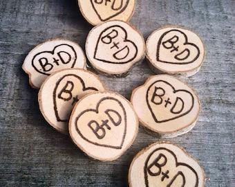 50 Small wood slice rustic wedding favors