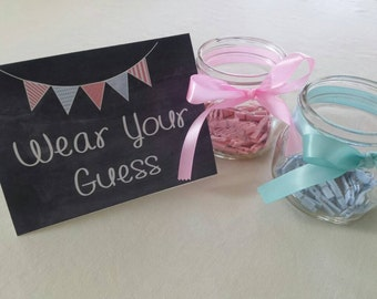 Gender Reveal Party / Wear Your Guess / Clothespin Game / Guess the Gender / Printable / Digital