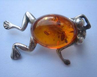 Baltic amber sterling silver frog pin brooch
