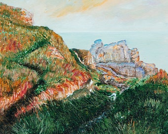 Light over Land's End - Original Contemporary Acrylic Painting on Canvas Board by Diane Griffiths Cornwall art Cornish Coast Seaside
