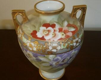NIPPON Vase Moriage Urn Pansies Gold Gilt Handles