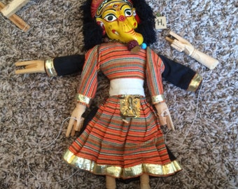 Vintage Nepalese 2-sided Marionette Puppet - 12 inch long - very good used condition (H)
