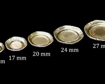 Artisan miniature silver dishes plates 1/12 1 inch scale dollhouse
