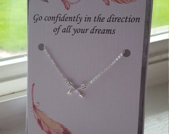 Graduation Gift, Friendship Necklace, Going Away Gift, Best Friend Necklace, Long Distance Best Friend, Arrow Charm Necklace, Inspirational