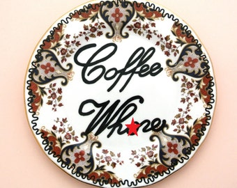 Coffee Wh*re Decorative Plate Caffeine Addict Gift for Her Coffee Lover Present Adult Content Mature Humor Swearing Cursing Funny Latte