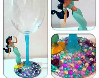 Princess Jasmine wine glass. Custom wine glass. Personalised wine glass