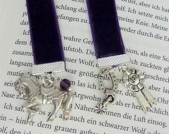 bookmark • horse • velvet  purple silver