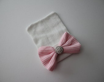 White Cotton Newborn Beanie Hospital Hat, Pink and White Stripe Bow and Rhinestone and Pearl Accent, Baby Keepsake