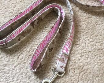 READY to SHIP - USMC desert Marpet + pink glitter zebra ribbon