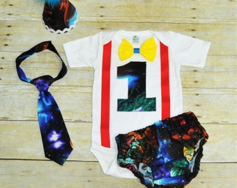 galaxy cake smash outfit, planets birthday outfit, outter space Birthday Outfit, 1st birthday outfit, tie, hat