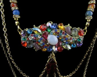Rhinestone Necklace, Agate Necklace, Semi-precious, Multicolor, Victorian Style, Chain Necklace, Upcycled Hollycraft, Free US Shipping